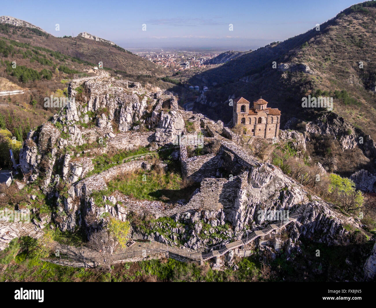Areal veiw of the Asen's fortress and the Virgin Mary church with Asenovgrad city in the background. Stock Photo