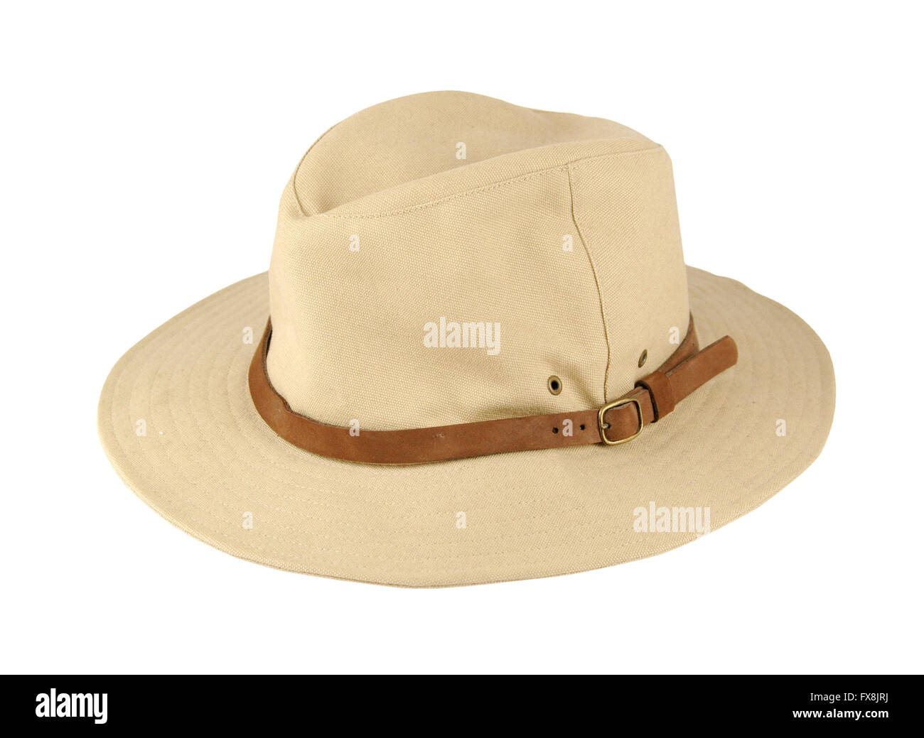 Hat with leather chin strap over wide hat brim - Stock Image ccbab0f91a43