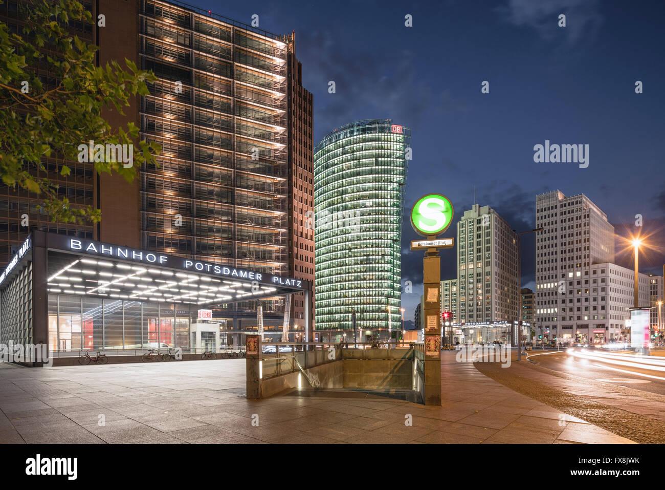 Potsdamer Platz, Berlin,  DB Tower , S Bahn Entrance, Berlin Center, Germany Stock Photo