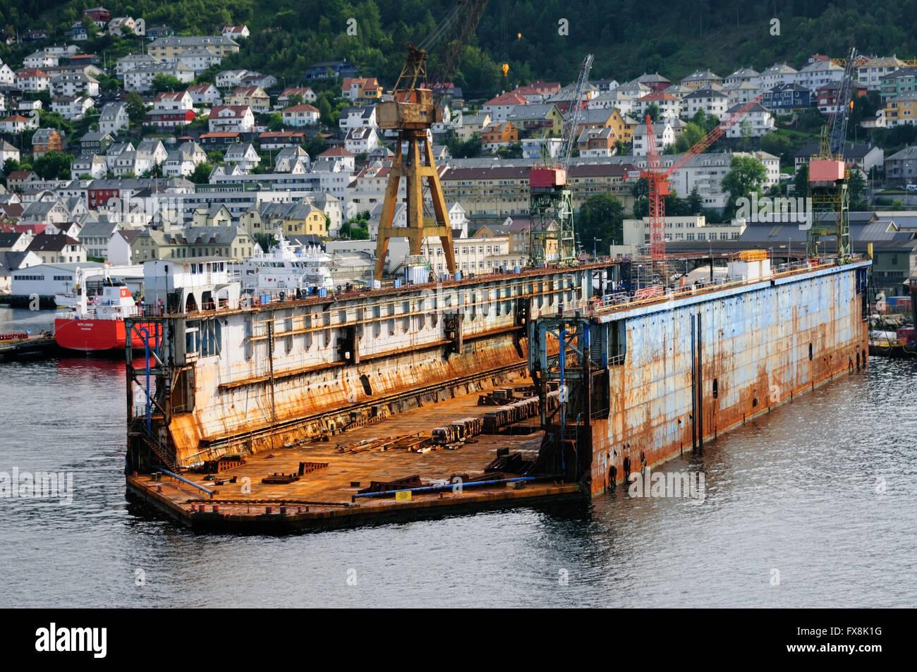 Floating dry dock in Bergen. - Stock Image