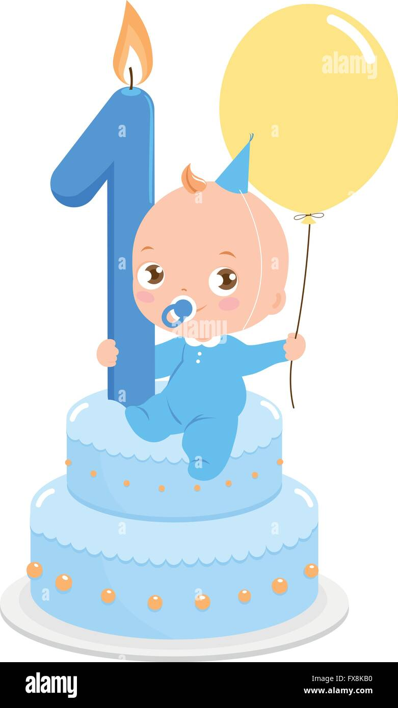 Wondrous Baby Boy On A Birthday Cake Celebrating His First Birthday Holding Personalised Birthday Cards Beptaeletsinfo