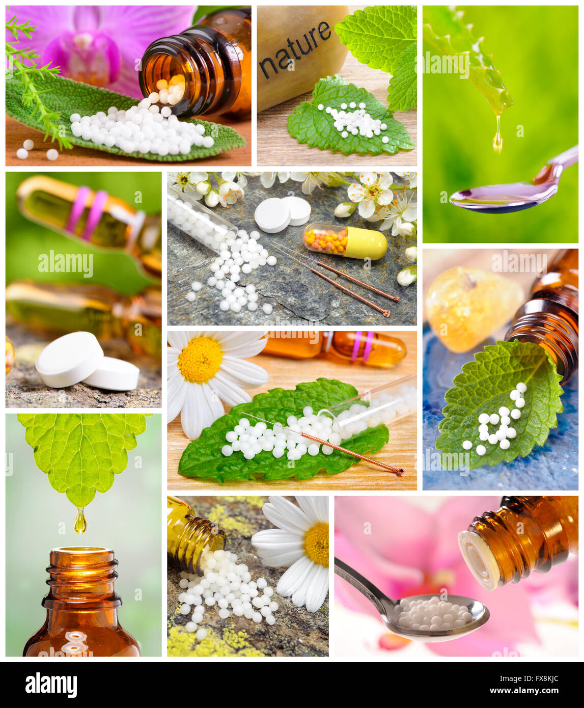 Collage of alternative medicine and homeopathy with herbal pills and acupuncture - Stock Image