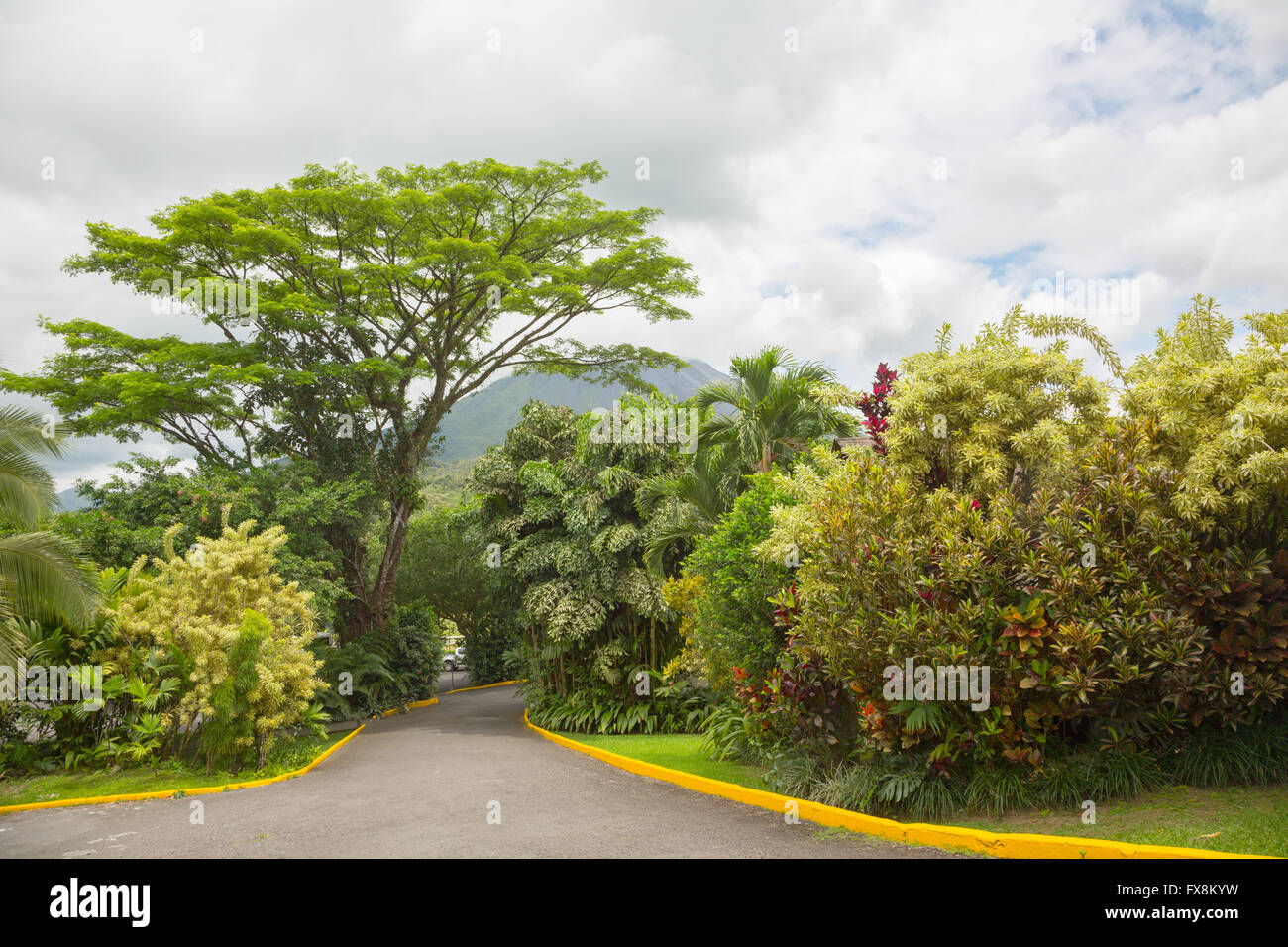 View of Arenal Volcano cone from La Fortuna place, Costa Rica - Stock Image
