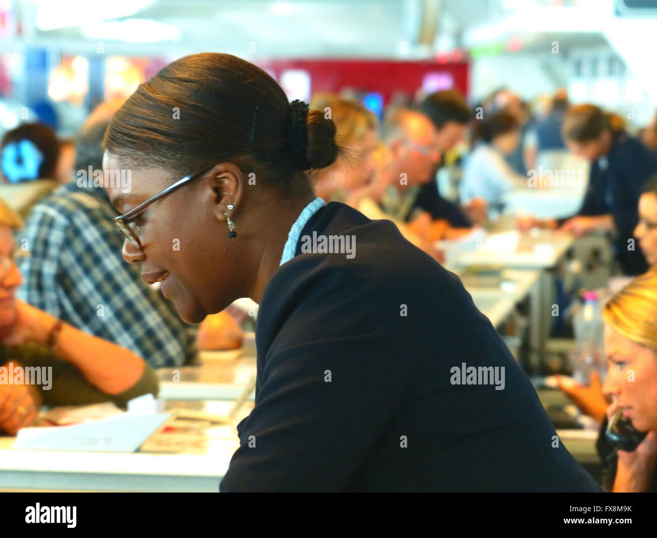 Passengers at Charles De Gaulle International Airport wait to receive accommodation due to Air France strike - Stock Image