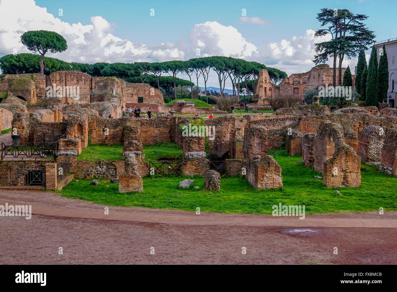 Ruins of the Domus Flavia (Flavian Palace), Palatine Hill, Rome - Stock Image