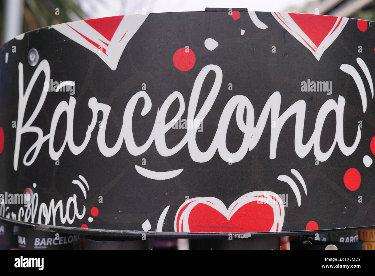 Barcelona written in white and surrounded by red hearts - Stock Image
