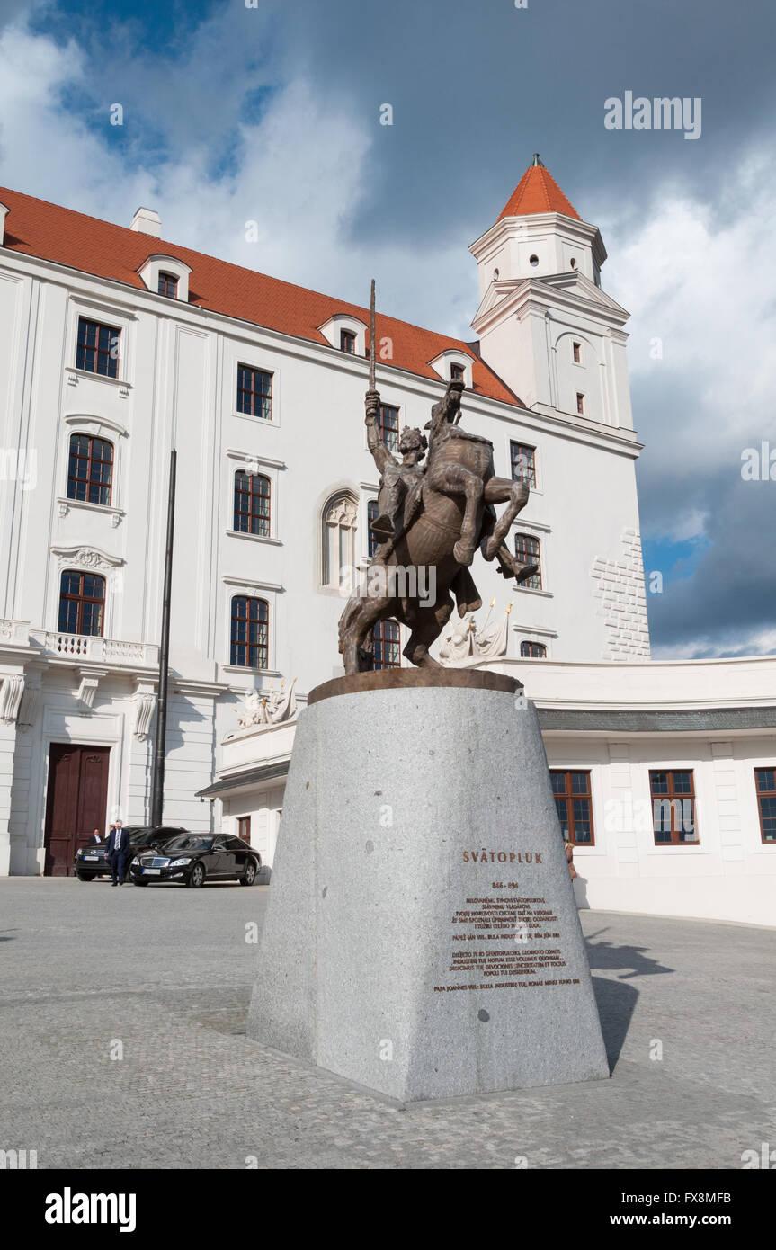 Statue of King Svatopluk I at Bratislava Castle, Slovakia - Stock Image