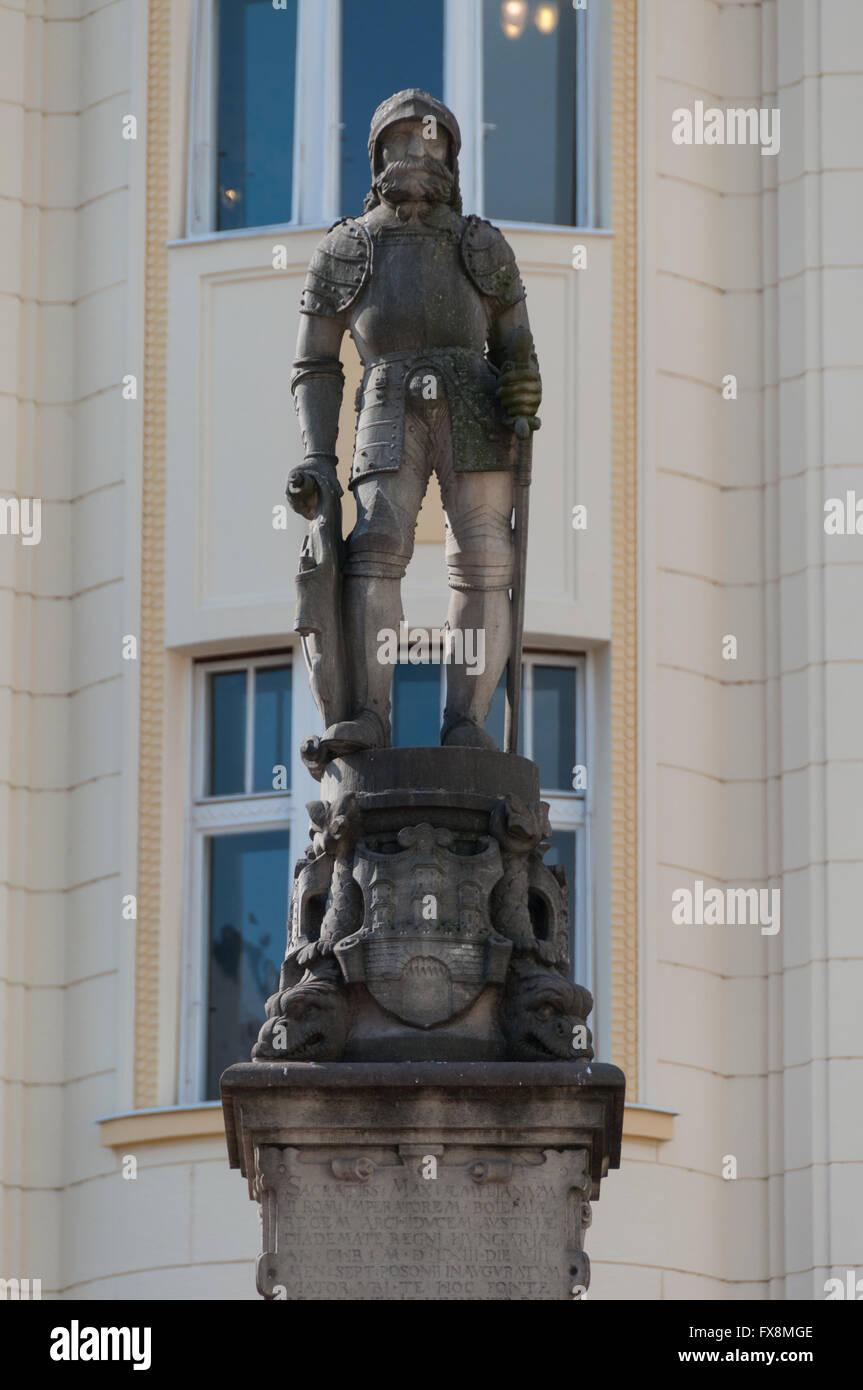 Details of the Roland Fountain statue, Bratislava, Slovakia - Stock Image