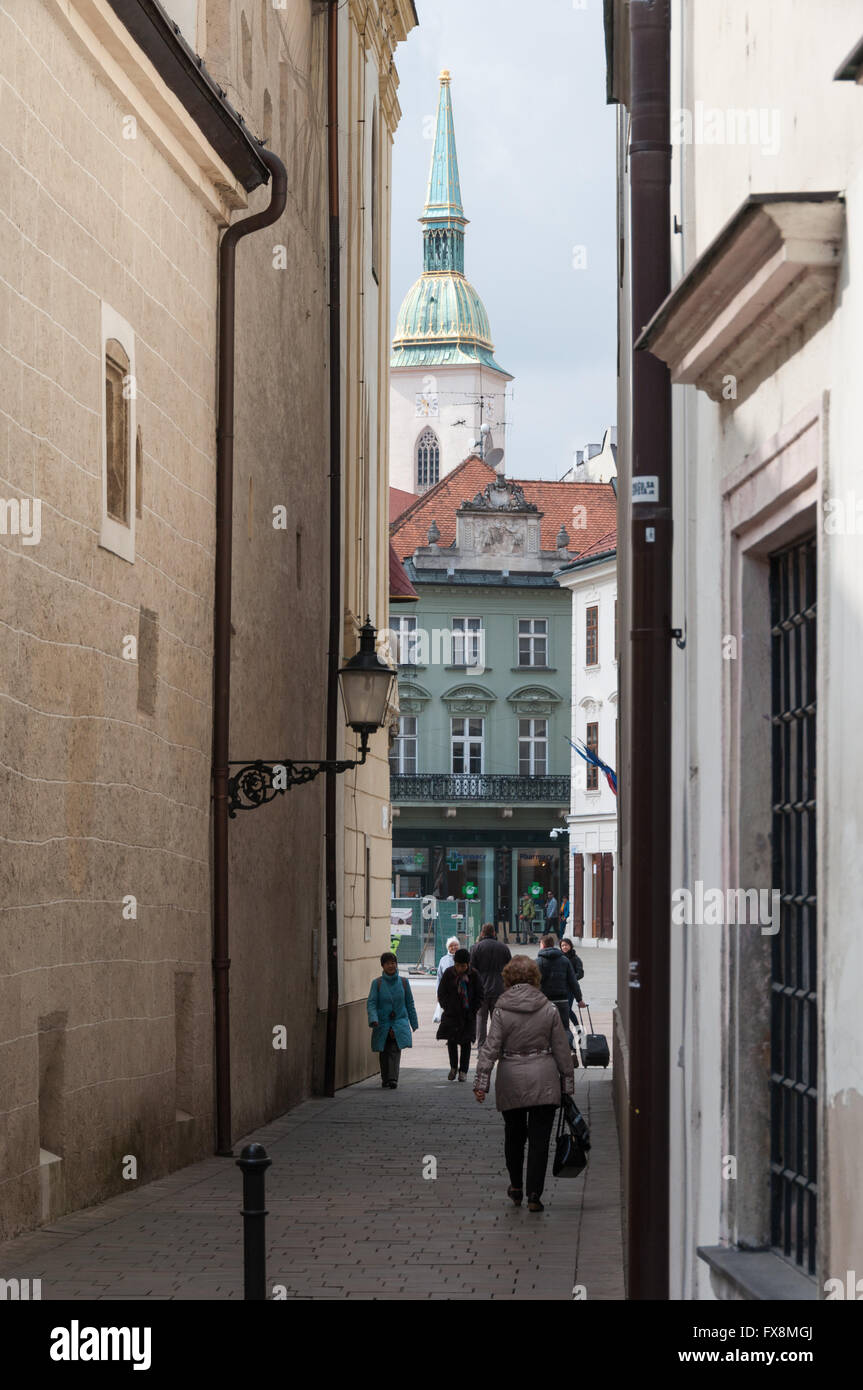 Old Town and St Martins Cathedral in Bratislava, Slovakia - Stock Image