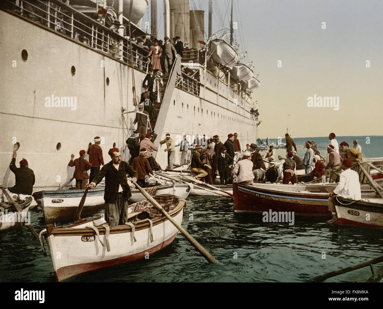 Passengers Disembarking from Cruise Ship, Algiers, Algeria, Photochrome Print, circa 1899 Stock Photo