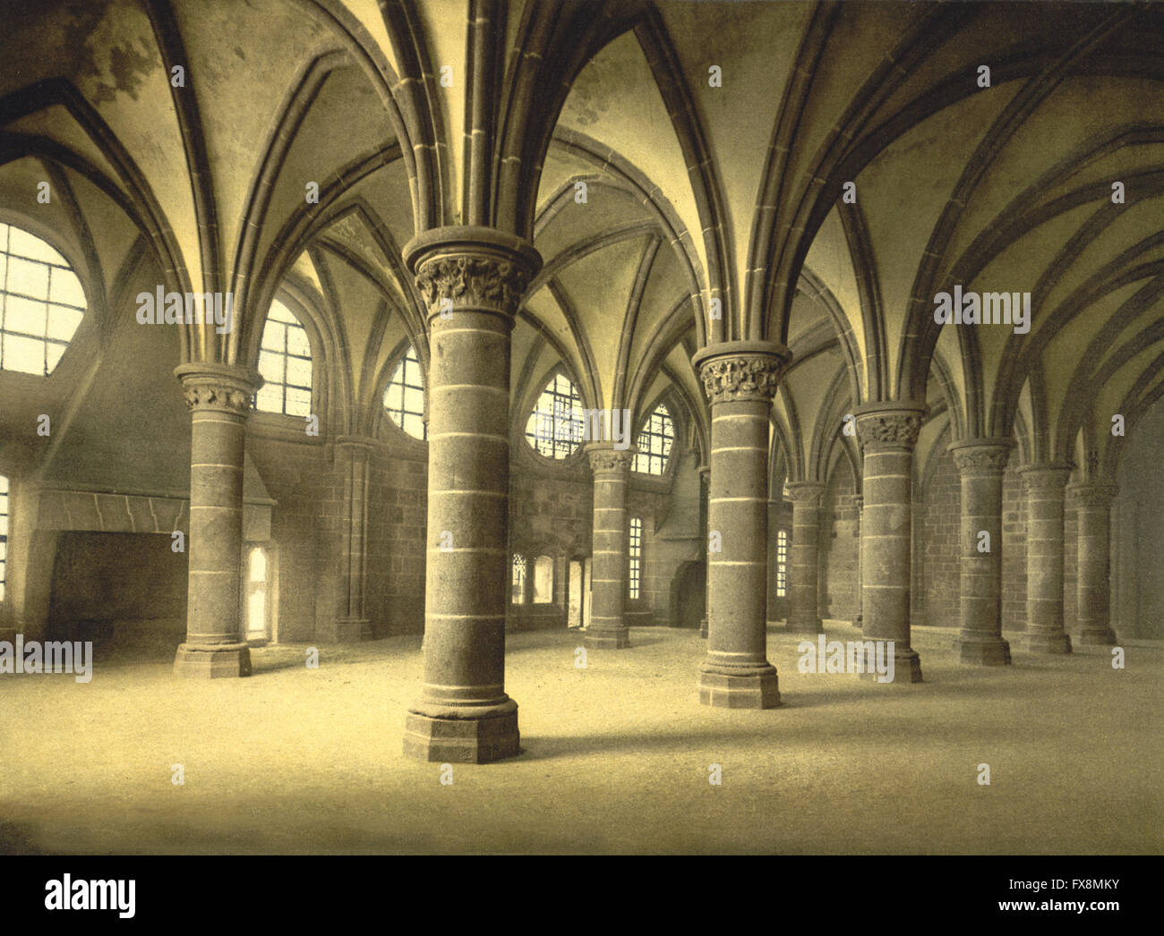 Knights' Hall, Mont St. Michel, France, Photochrome Print, circa 1900 - Stock Image