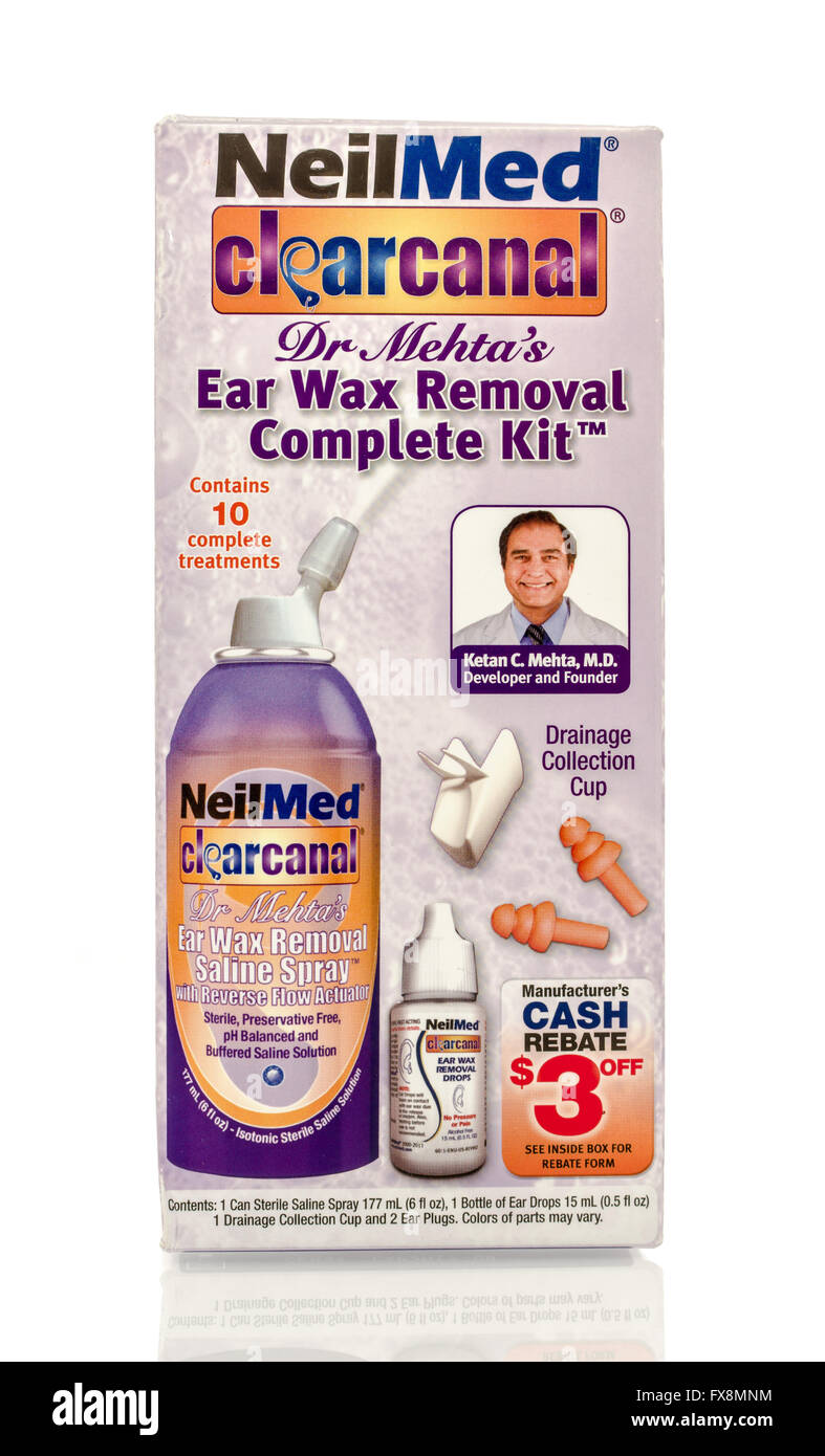 Ear wax stock photos ear wax stock images alamy winneconne wi 12 april 2016 box of neilmed ear wax removal kit on ccuart Image collections