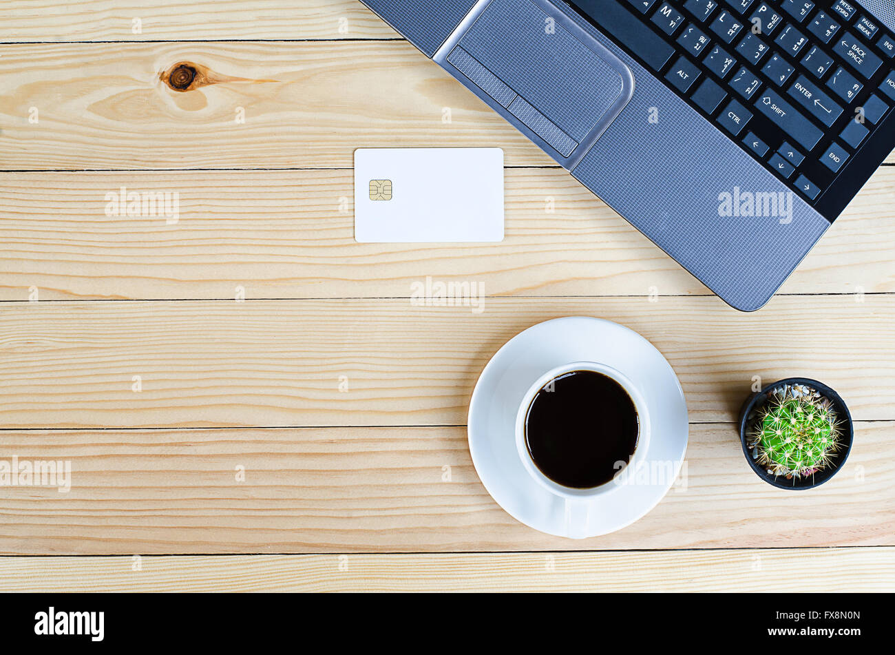 Laptop with credit card for Online shopping ,top view with copyspace - Stock Image