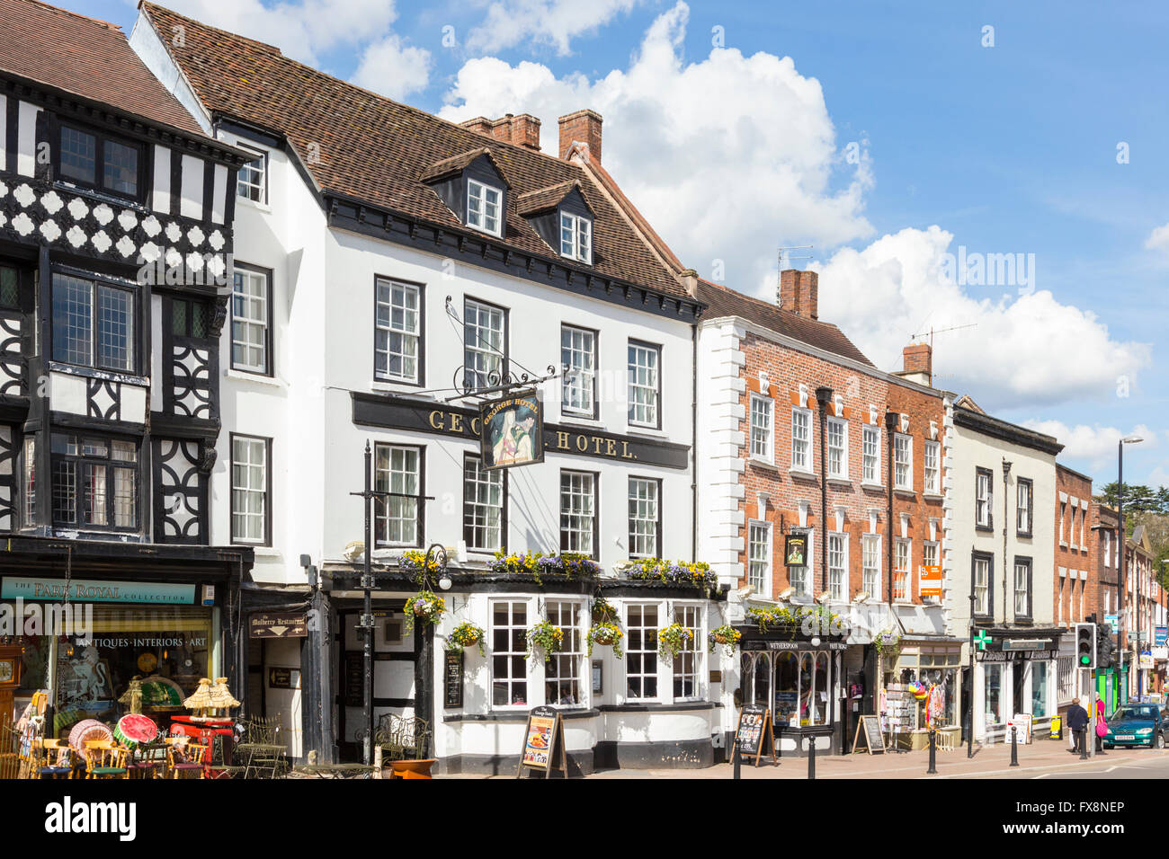 Load Street and it's historic buildings in the riverside town of Bewdley, Worcestershire, England, UK - Stock Image
