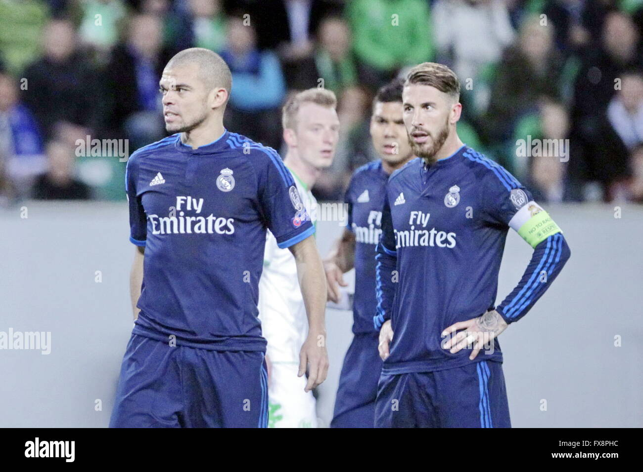Pépé and Sergio Ramos in action during the league champion Wolfsburg match - Real Madrid - Stock Image