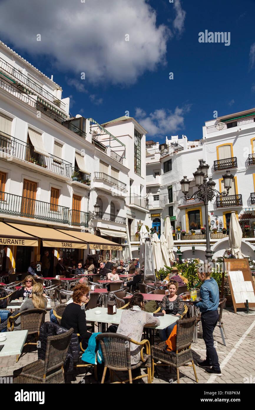 Main square, White village of Competa, Axarquia. Malaga province Costa del Sol, Andalusia, Spain Europe - Stock Image