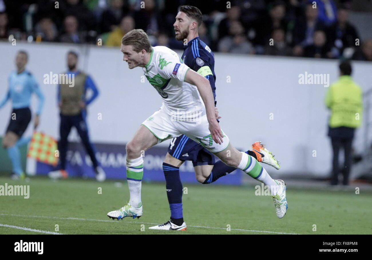 André Schürrle and Sergio Ramos in action during the league champion Wolfsburg match - Real Madrid - Stock Image