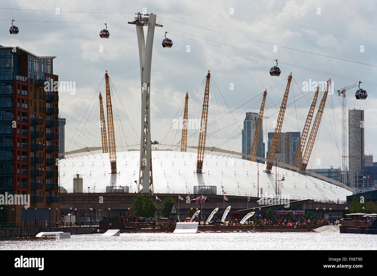 The O2 Arena, in Docklands, London UK, with Emirates Cable car crossing - Stock Image
