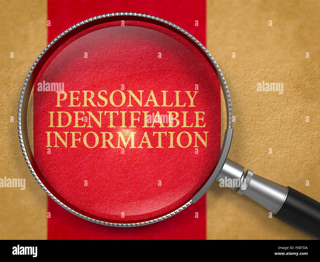 Personally Identifiable Information through Lens on Old Paper. Stock Photo