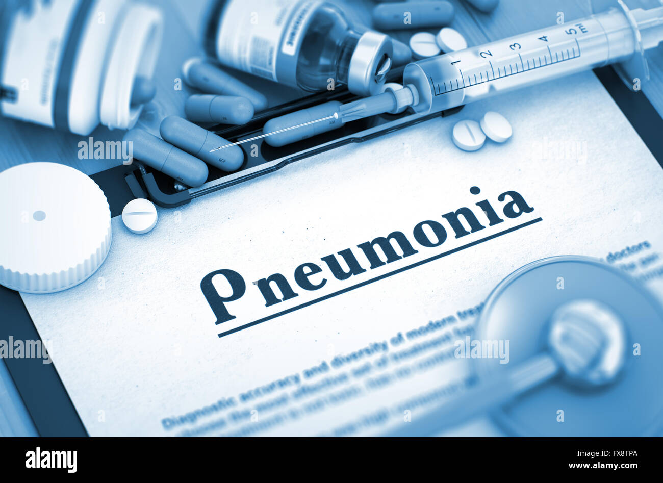 Pneumonia Diagnosis. Medical Concept. 3D Render. - Stock Image