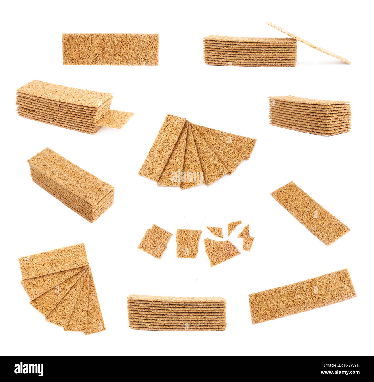 Bread cracker snacks isolated - Stock Image