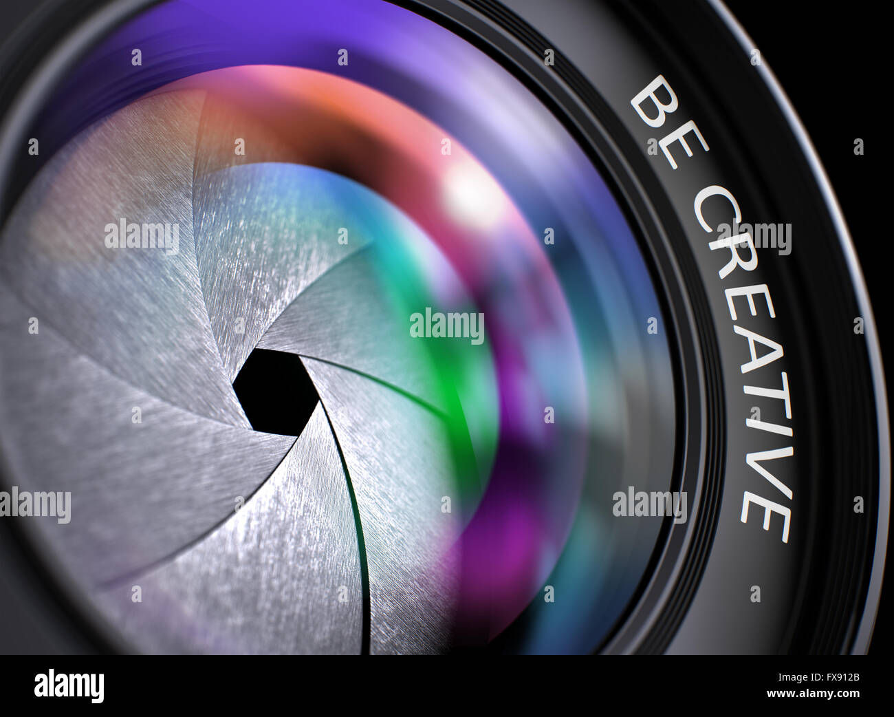 Be Creative Concept on Digital Camera Lens . - Stock Image
