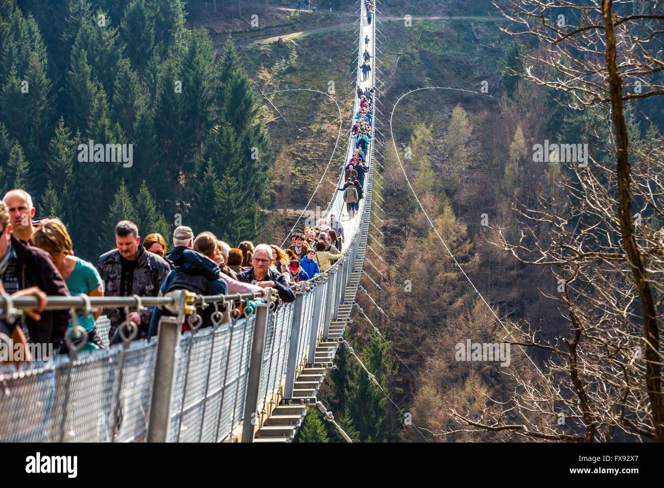 Suspension bridge Geierlay, between villages Mörsdorf and Sosberg ...