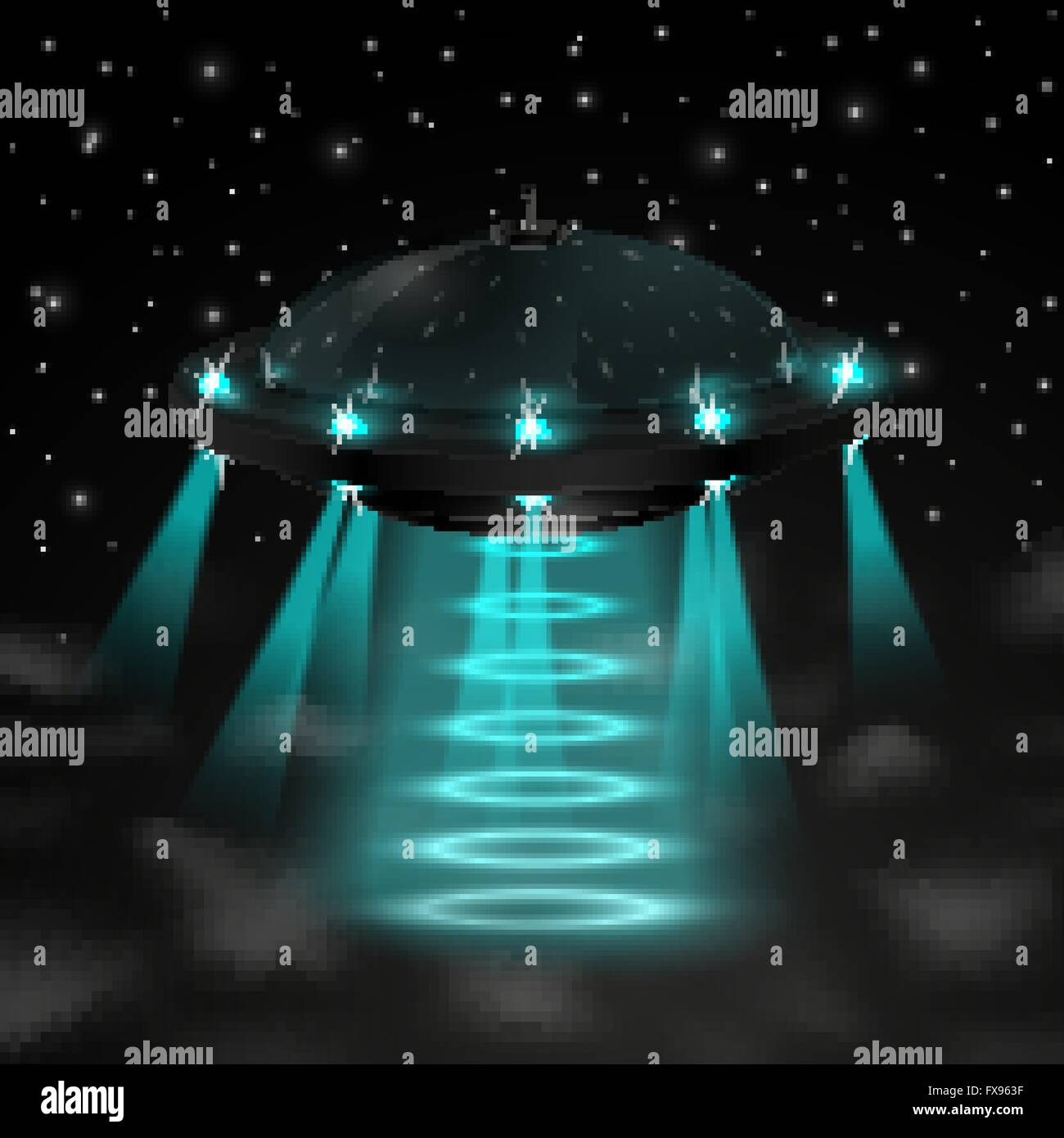 Flying ufo in the night - Stock Image