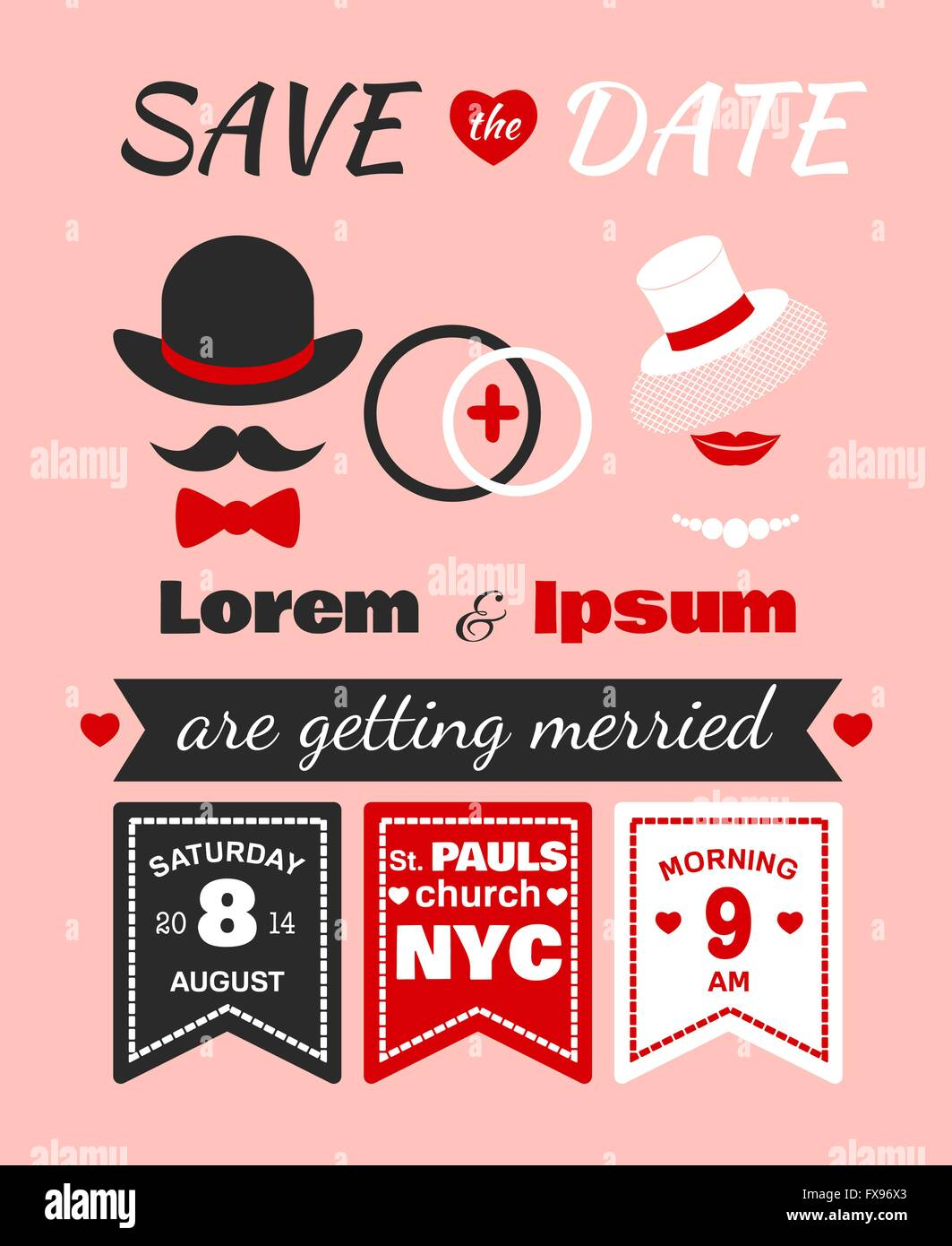 Hipster wedding invitation card Stock Vector Art & Illustration ...