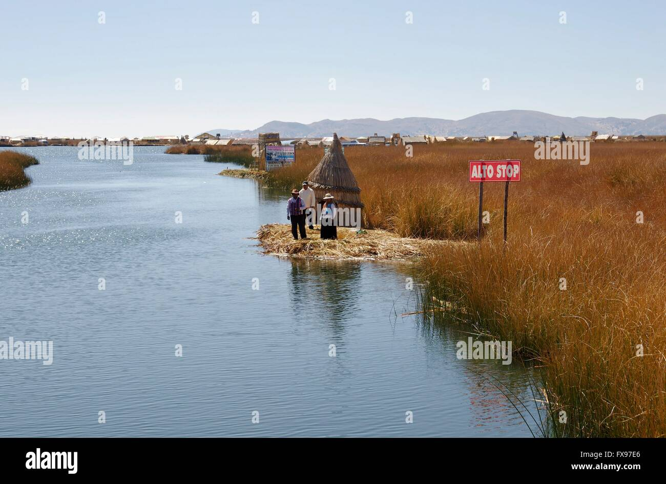 On the way to the Uros, a people living on reed islands close to the Peruvian harbour of Puno in Lake Titicaca, - Stock Image
