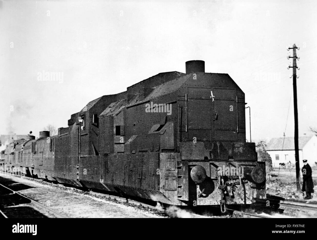 The Nazi propaganda image depicts an armored train of the ...