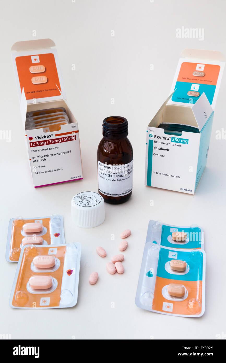 Viekirax, Exviera & Ribavirin - the latest (2016) combination of anti-virals in the UK to treat Hepatitis C. - Stock Image
