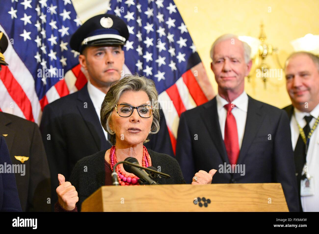 U.S Senator Barbara Boxer of California during a news conference promoting the Safe Skies Act as an amendment to - Stock Image