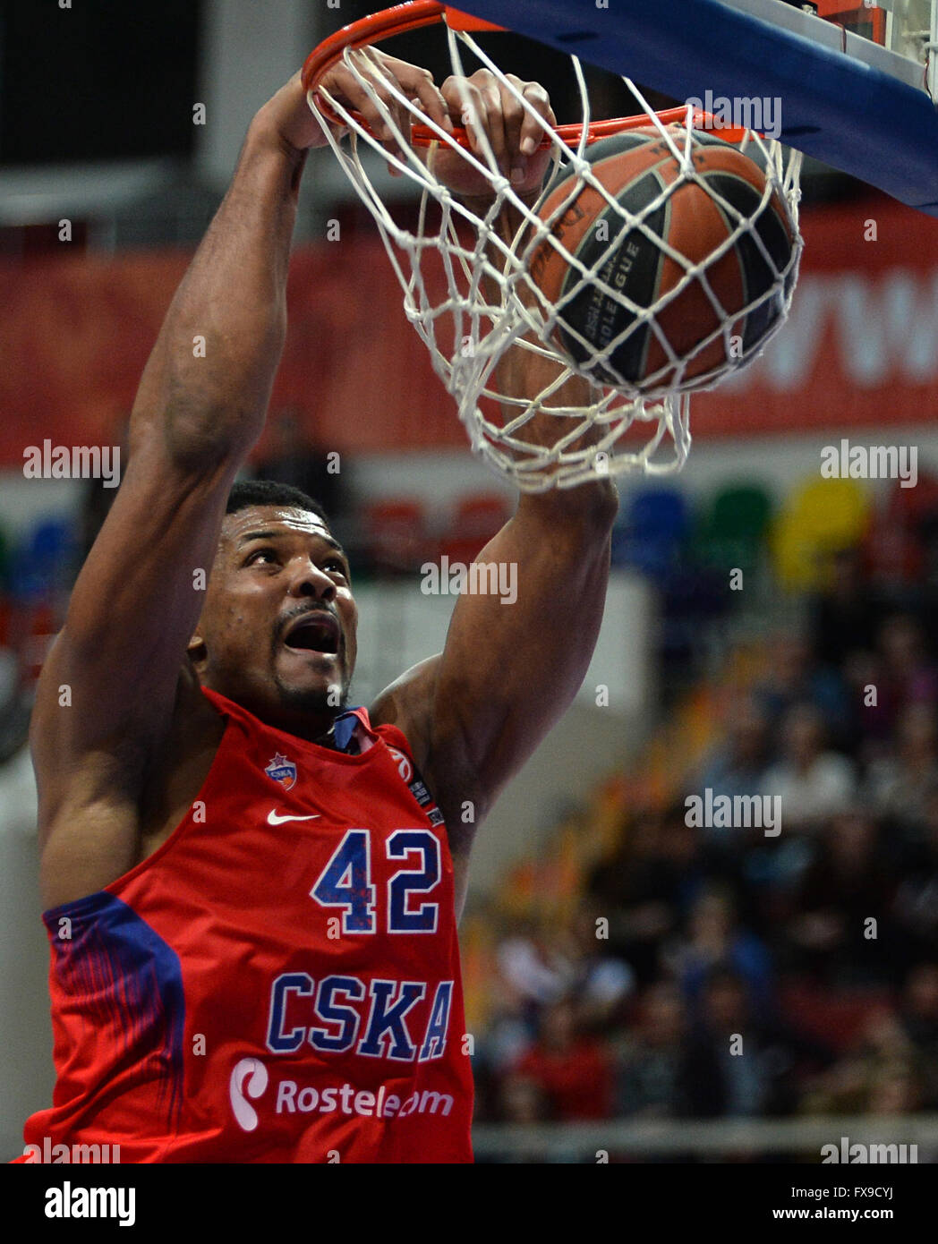 (160413) -- Kyle Hines of CSKA scores during Euroleague Basketball playoff Game 1 between Russia's CSKA Moscow and Stock Photo