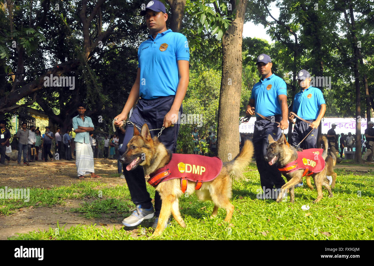 Dhaka, Bangladesh. 13th Apr, 2016. Security forces patrol with dogs ahead of the upcoming Bengali New Year in Dhaka, - Stock Image