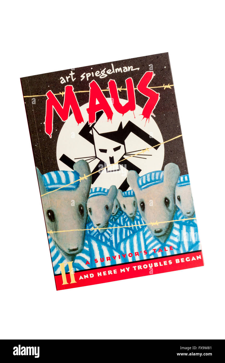 Maus A Survivor's Tale by Art Spiegelman.  Front cover of Volume II And Here My Troubles Began.  Published by - Stock Image