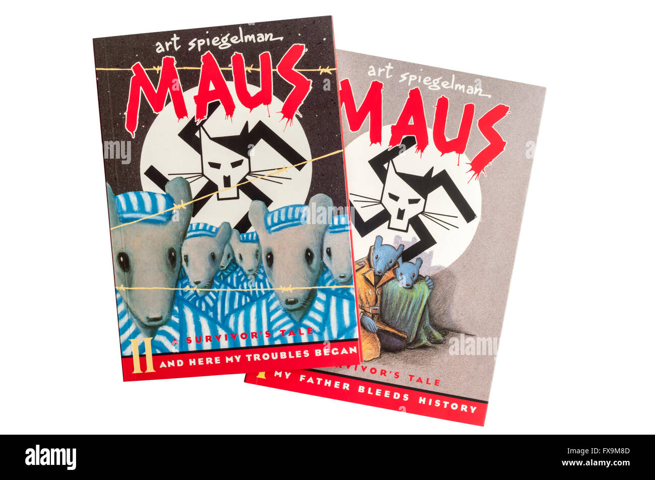 Volumes I and II of Maus A Survivor's Tale by Art Spiegelman.  Published as a boxed set by Penguin. - Stock Image