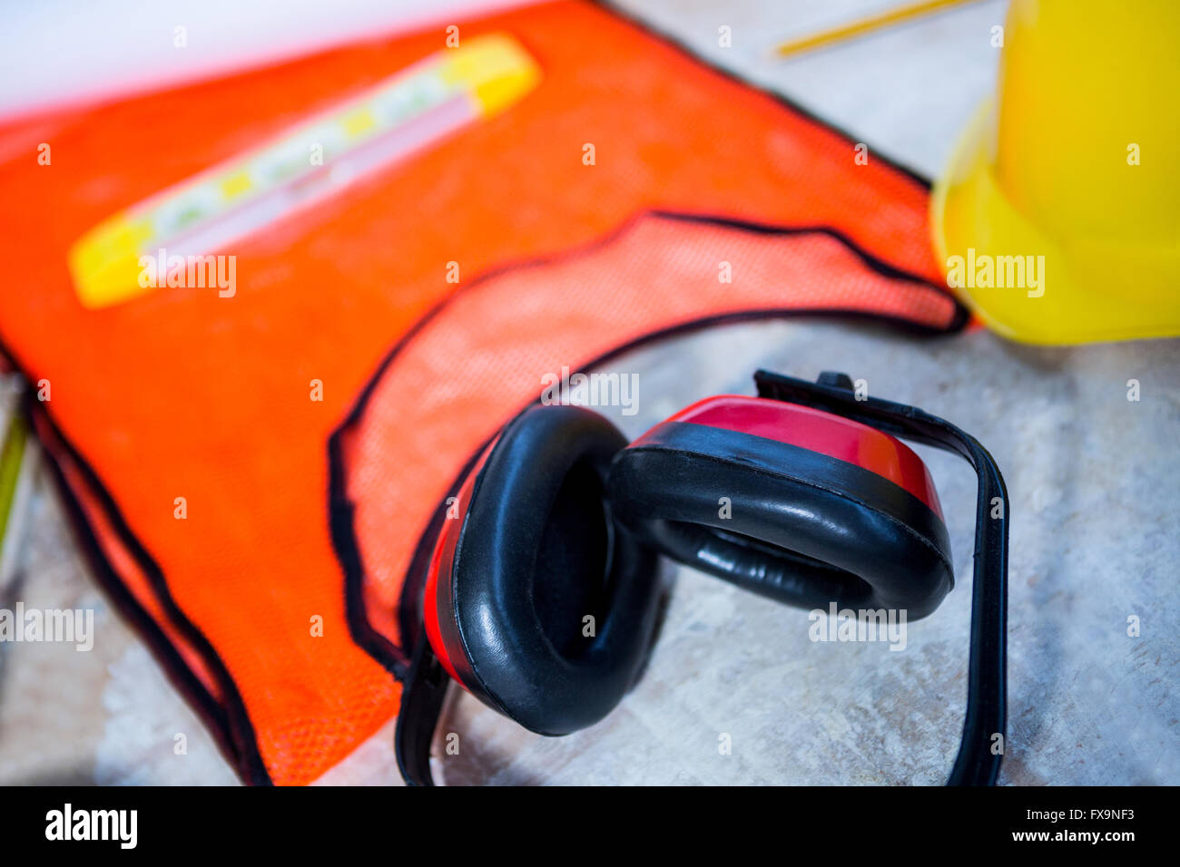 Carpenters safety equipment - Stock Image
