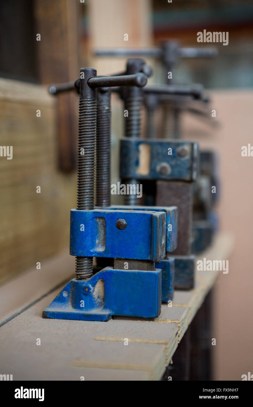 Zoom of carpenters tools - Stock Image