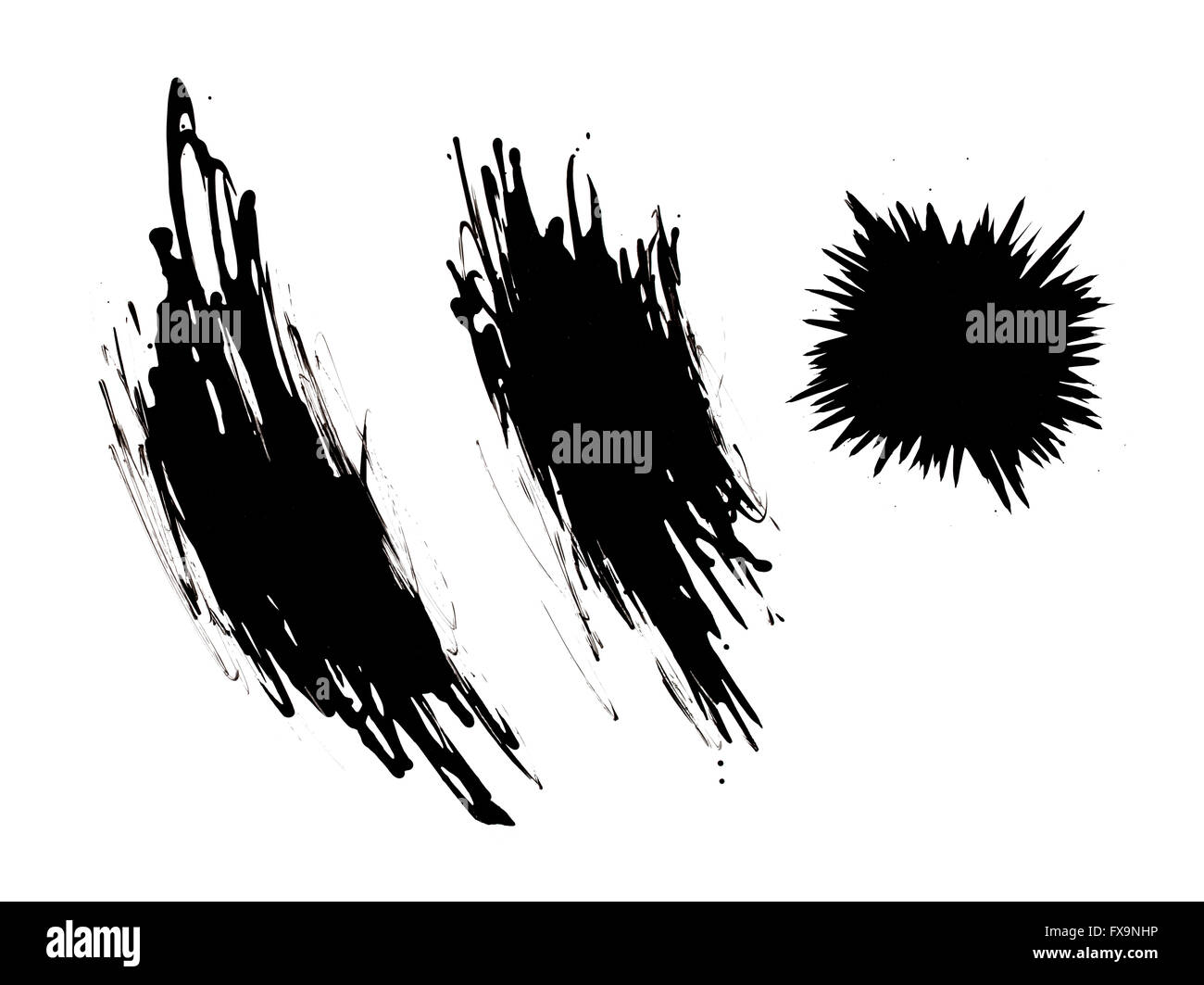Black Scribbles and Splat Drip Isolated on White Background. - Stock Image