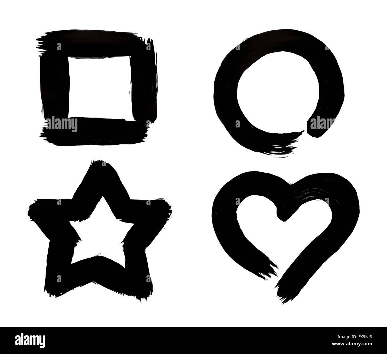 Square Circle Star And Heart Symbols Black Paint Brush Strokes