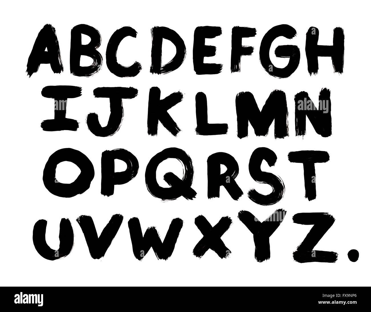 Black Paint Brush Letters Isolated on White Background. - Stock Image
