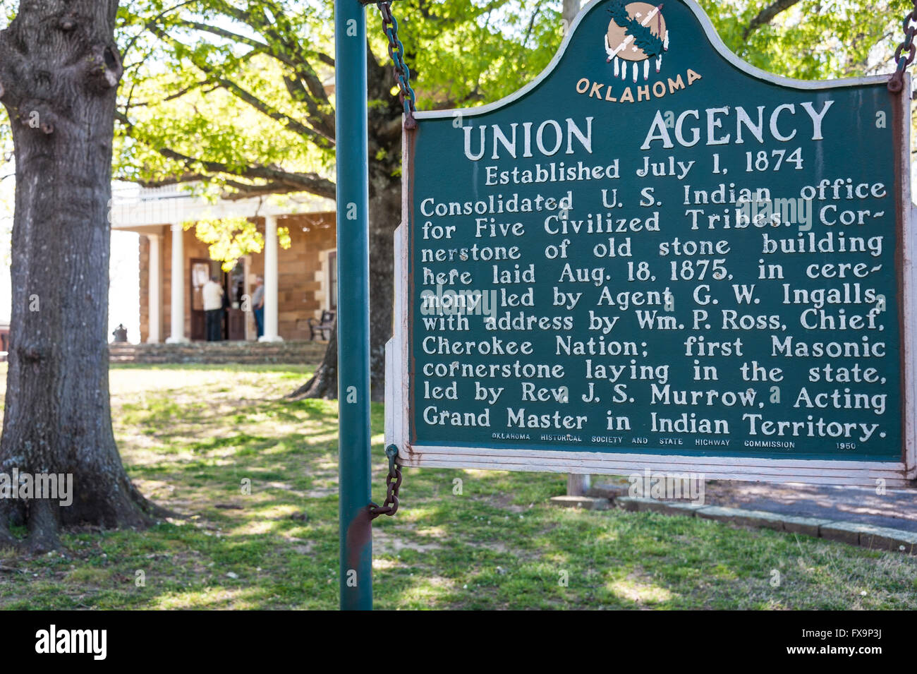 Union Agency historical marker at The Five Civilized Tribes Museum in Muskogee, Oklahoma, USA. Stock Photo
