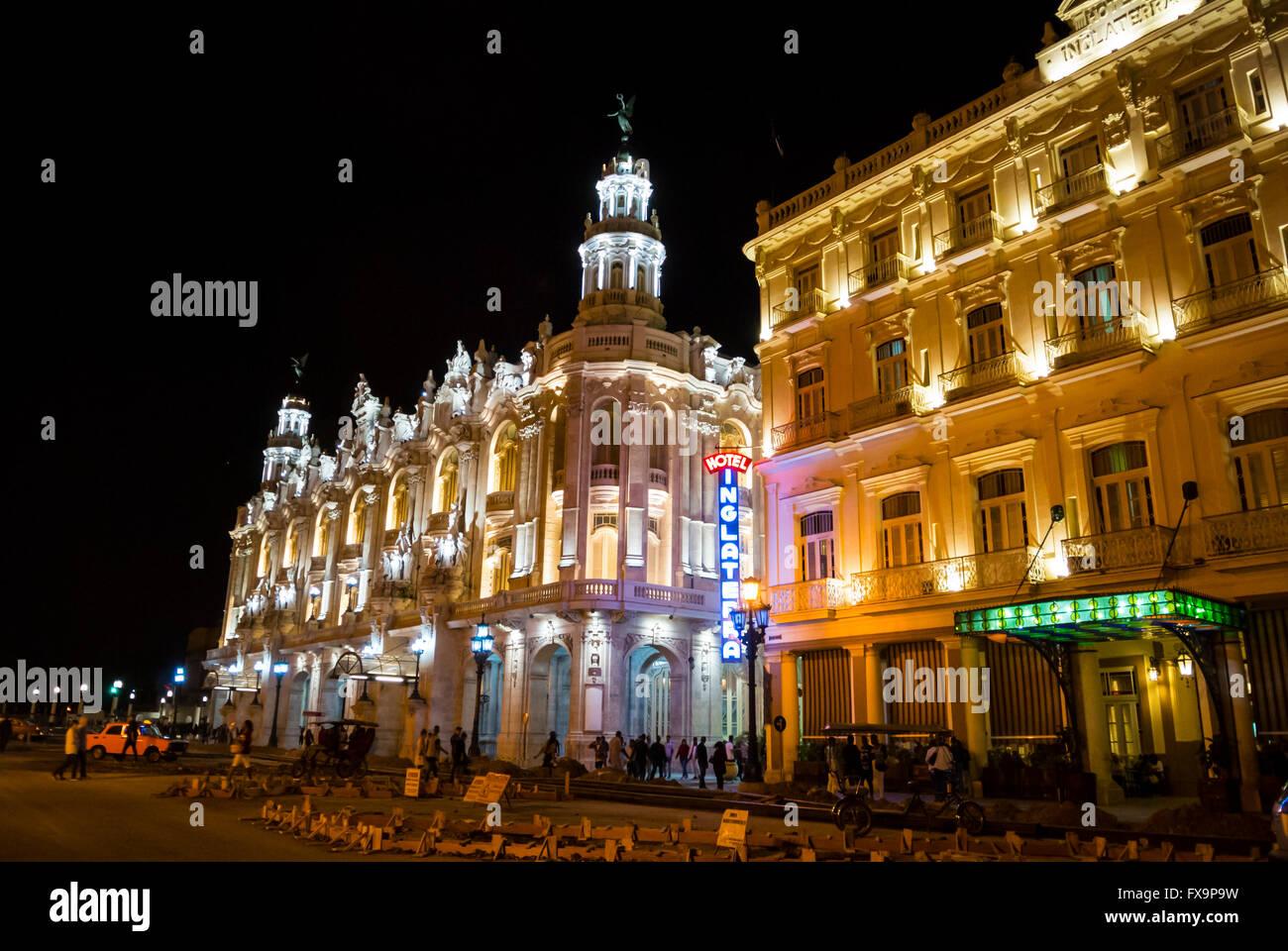 Gran Teatro de La Habana and Hotel Inglaterra Havana Cuba - Stock Image