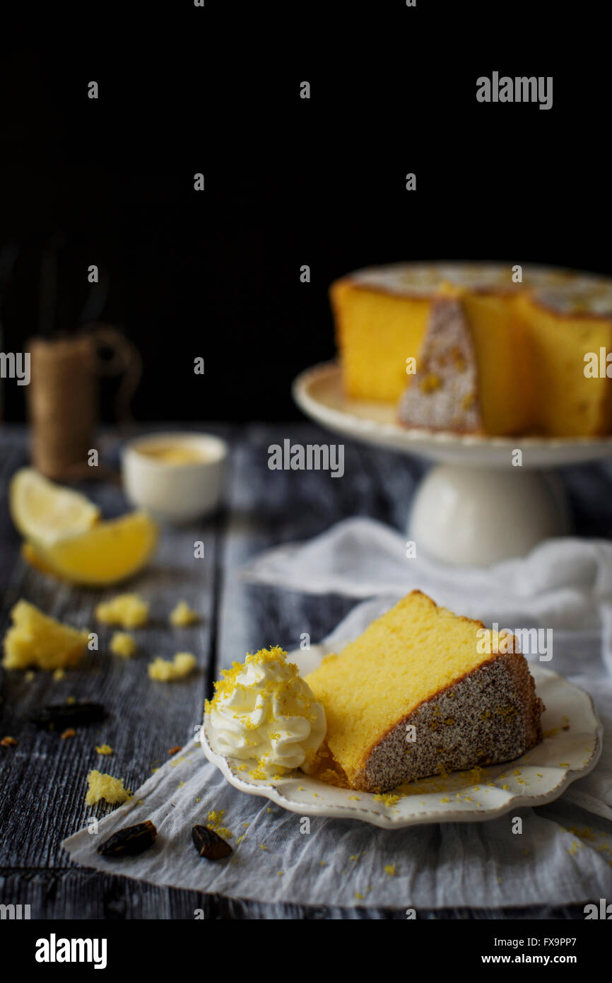Fluffy and gluten free sponge cake, flavored with lemon and tonka bean Stock Photo