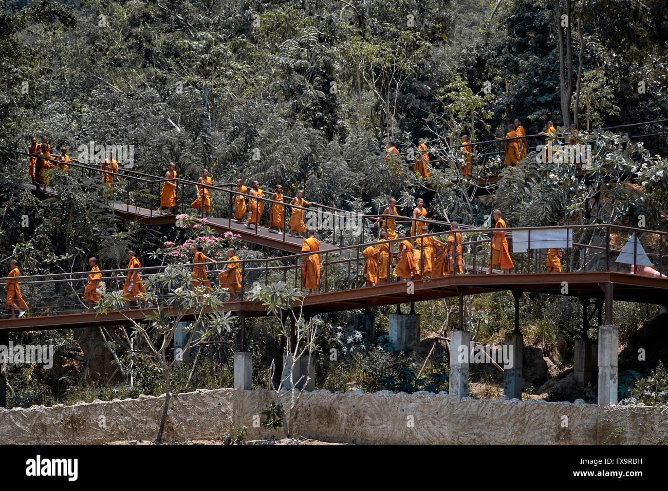 Thailand monks at a jungle retreat. S. E. Asia - Stock Image