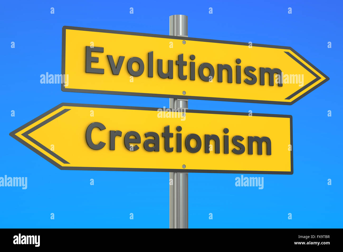 evolutionism vs creationism concept on the signpost, 3D rendering - Stock Image