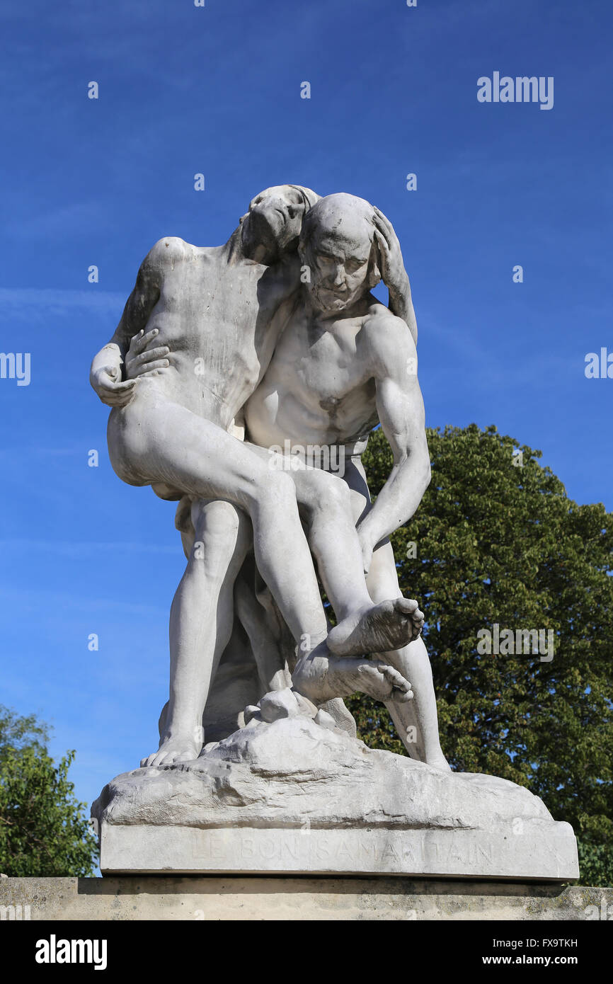 The Good Samaritan, 1896, statue by Francois-Leon Sicard (1862-1934). Paris, France. - Stock Image