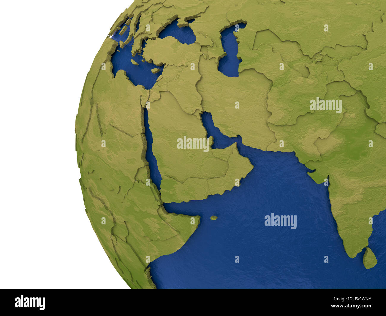 Middle east region on detailed model of planet earth with visible middle east region on detailed model of planet earth with visible country borders on green land and waves on the ocean waters gumiabroncs Choice Image
