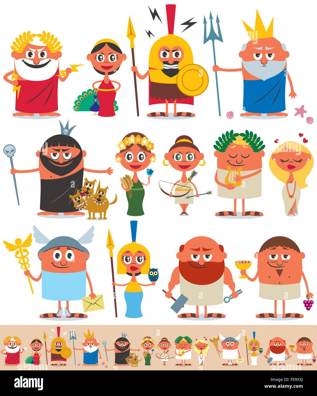 Set of cartoon Greek / Roman gods over white background. No transparency and gradients used. - Stock Vector